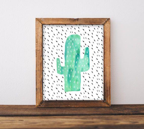 Cactus Wall Art Nursery Printable, Gender Neutral Southwestern Baby Shower Gift, Office Decor Watercolor Mint, Black & White
