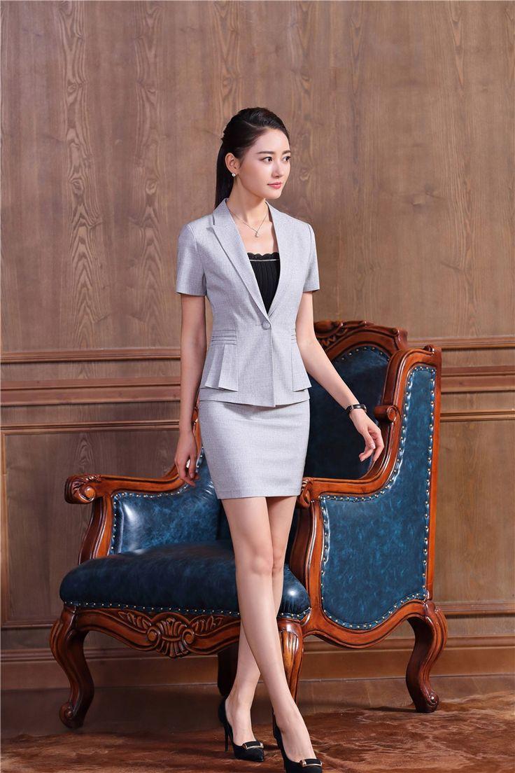 Verano Gris Formal Blazer Mujeres Work Wear Trajes con Falda y Chaqueta Para Mujer Trajes de Negocios Elegante Estilos Uniformes de Oficina