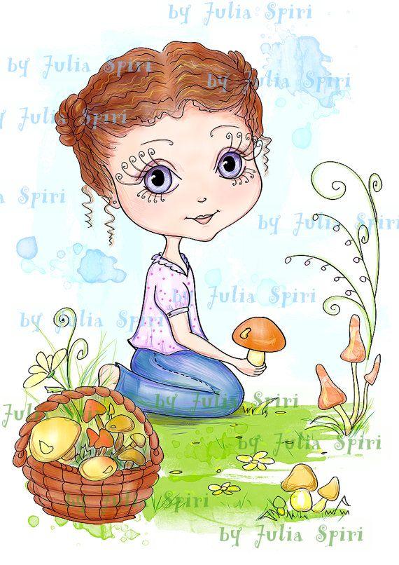 Selos digitais, Digi selos, Scrapbooking imprimíveis, selos infantis, páginas para colorir, berçário arte impressa.  Apanhar cogumelos