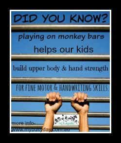 It's a different world! Kids stay inside and spend much of their time on small screens! Let's get the balance back! Get outside and get our kid's gross and fine motor skills going, ready for writing, drawing, buttoning, building, tying up shoelaces and more! It takes strength!