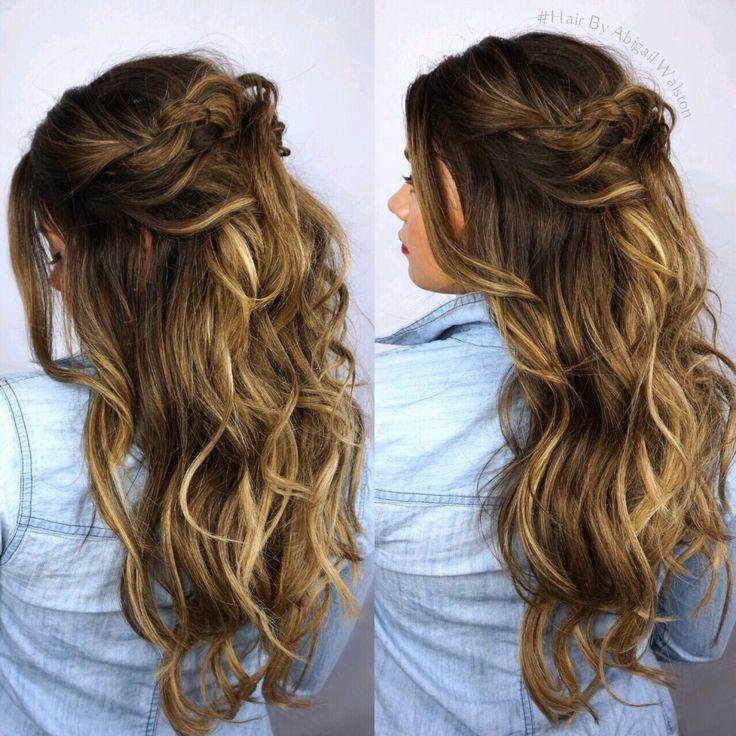 Rooty hair color, Balayage Highlights, Cool Caramel Balayage, Haircolor, Updo, Half Up Hairstyle, Beachy hair, textured curls, Hair by Abigail Wals\u2026