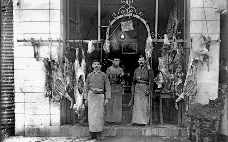 Butcher shop at Kolonaki, Athens, 1914