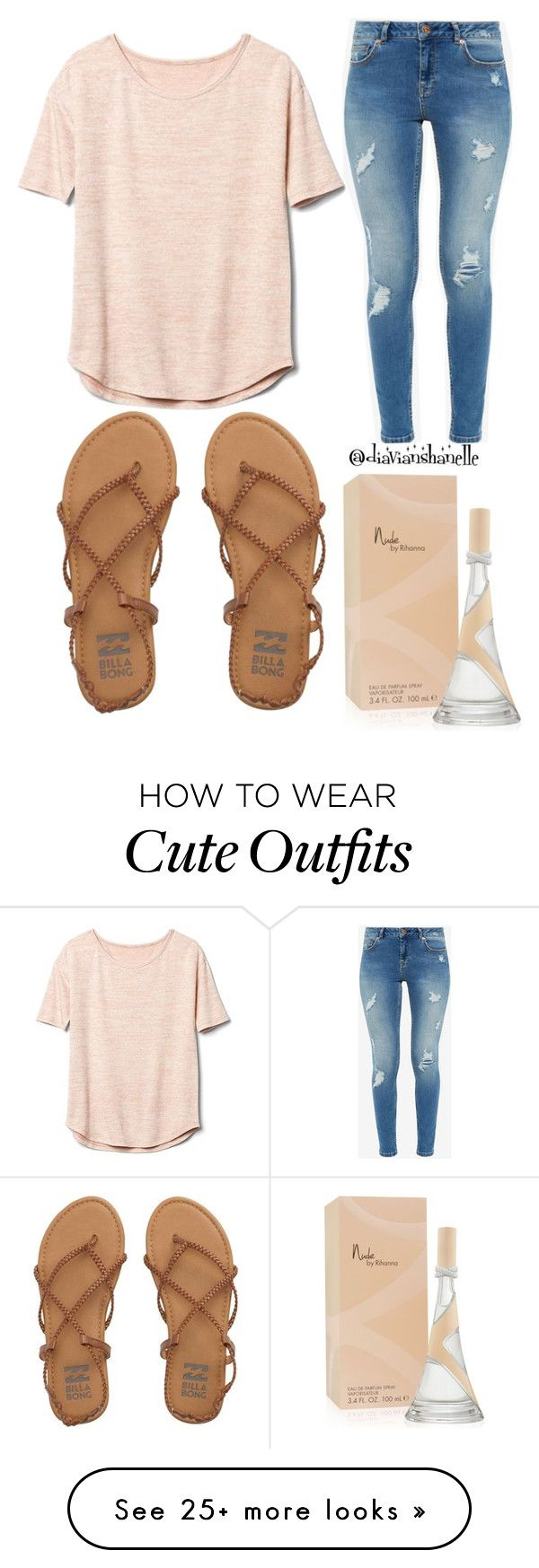 """Cute Beige Outfit"" by diavianshanelle on Polyvore featuring Gap, Billabong, Ted Baker, fabulous and glamorous"