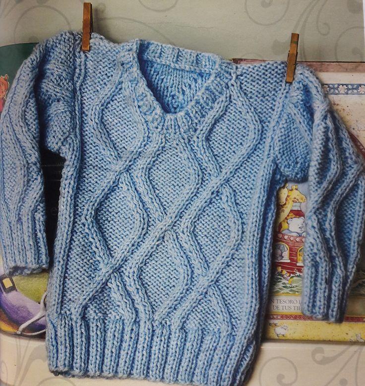 Sweater con rombos tejido a dos agujas para niños – Talle 18 a 24 meses