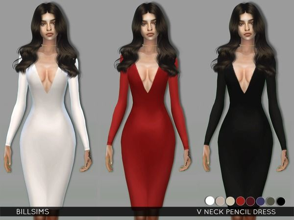 The Sims Resource: V Neck Pencil Dress by Bill Sims • Sims 4 Downloads