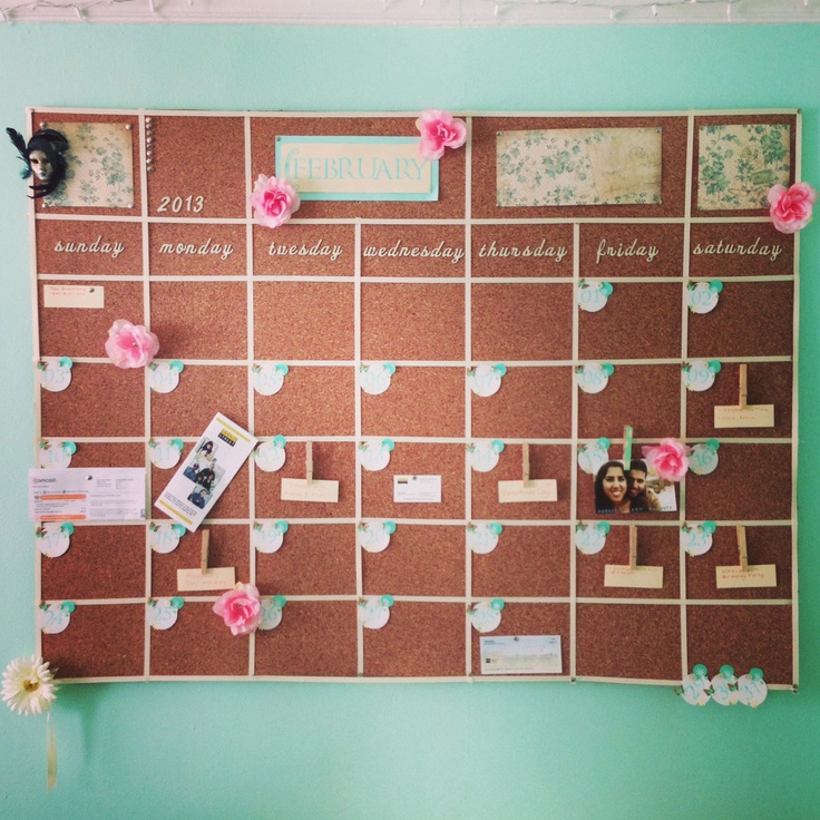 Diy Calendar Board : Cork board wall calendar pin your bills tickets and