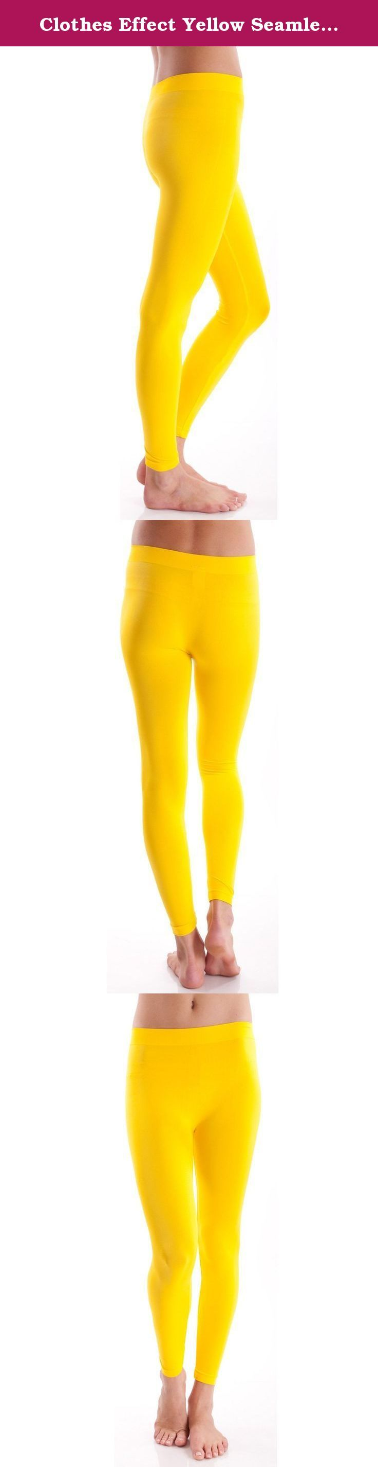 Clothes Effect Yellow Seamless Leggings Full Length. Yellow Ladies Seamless Leggings. Solid color seamless full length leggings, Form-fitting, Colors available in Black, Gray, Brown, Navy, White, Sage, Yellow, Red, Purple, Green, Blue, Magenta, Burgundy, Rust, Teal Blue, Mint, F Teal, Olive, Khaki, Neon Green, Pink, Lavender, Neon Yellow, Light Mint, Orange, Peacock Mint, and Neon Fuchsia. , 92% Microfiber Nylon, 8% Spandex.
