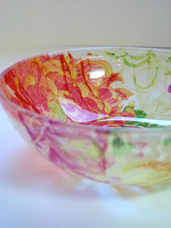 Napkin Decoupaged Small Glass Bowl - Buy 1 or set of 2 - Orange, Pink and Lime Green Chrysanthemums