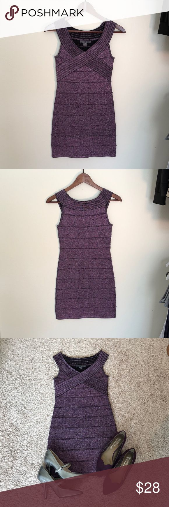 ❤️Stunning purple metallic bodycon dress❤️ ❤️Stunning purple metallic bodycon dress, excellent condition❤️ twenty one Dresses Mini