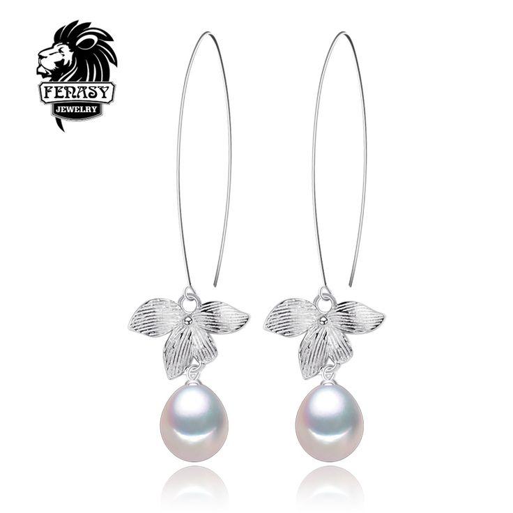 Fenasy natuurlijke parel oorbellen parel sieraden choker voor vrouwen casual stijl 2017 sieraden parel charm bohemen blad oorbellen