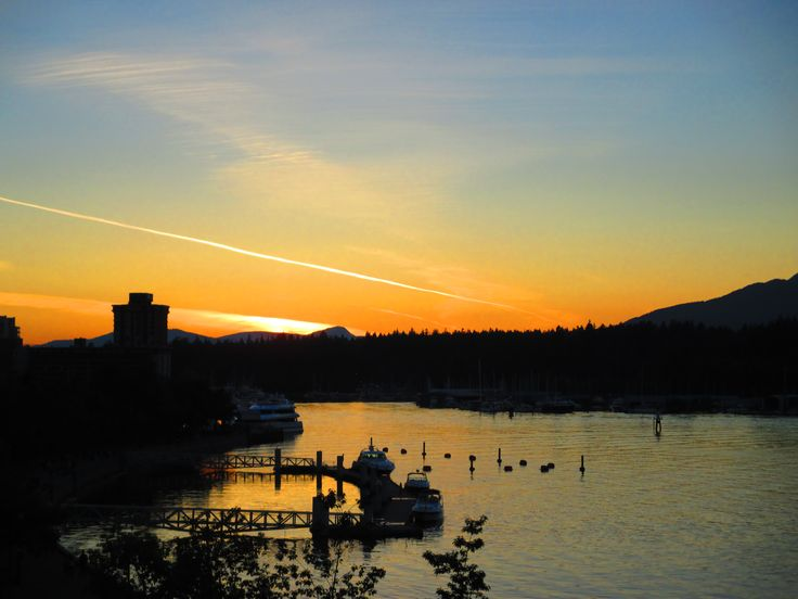Sunset, Canada Place, Downtown, Vancouver, BC, Summer