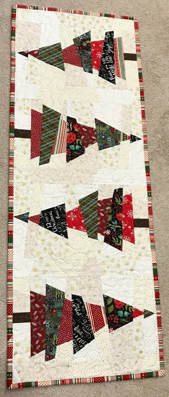Crazy Christmas Tree Handmade Quilted Table Runner 16 X 45 Christmas Tree Quilt Christmas Quilts Christmas Sewing Projects