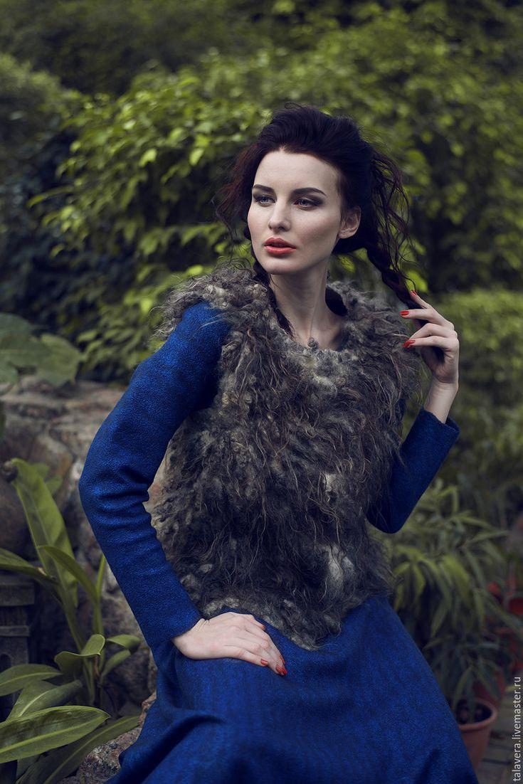 """Купить """"Лагерта"""" - платье валяное синее - синий, платье, валяное платье, подарок для женщины"""