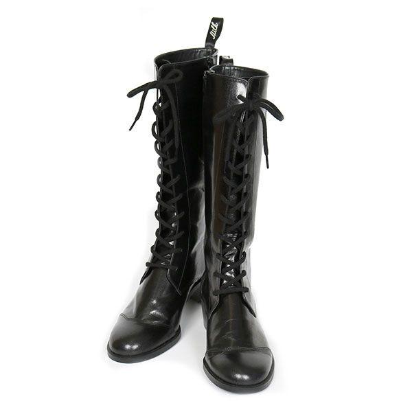キュートな編み上げのロングブーツ サイド部分はハート形にくりぬかれています 9825 サイズ S 23cm M 24cm L 25cm 素材 A B D 本革 C フェイクレザー ブーツ 編み上げブーツ ブーツ イラスト