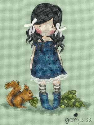 You Brought me Love (XG18) Cross stitch kit designed by Bothy Threads featuring the popular 'Gorjuss' character. The kit contains 14 hpi green aida, needle, pre-sorted stranded cottons, beads, silk ribbon, lace, heart button, chart and full instructions. Size measures: 16cm x 21cm. RRP £23.99 See the full range of Gorjuss Cross Stitch Kits
