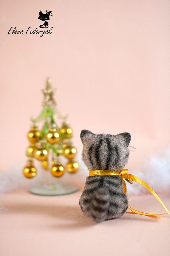 Needle Felted Cute Little Kitten MADE TO ORDER от KittenBlackUA