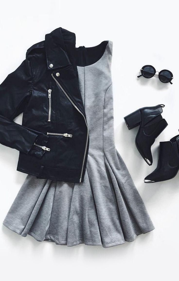 cute ladies outfit: skater dress, black booties, black jacket