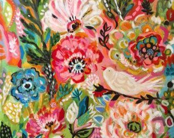 Original Bird Painting Flowers 24 x 36 Karen Fields Nursery Decor