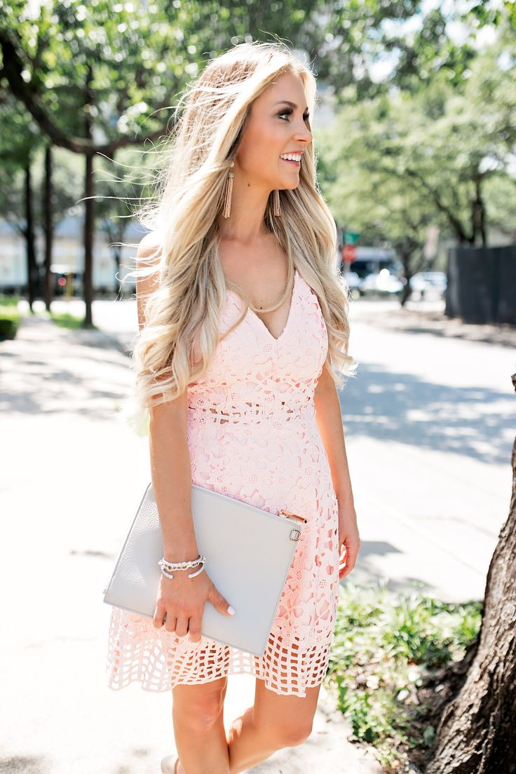 Fabulous Summer Wedding Guest Dress Blush Pink Laser Cut Lace Dress