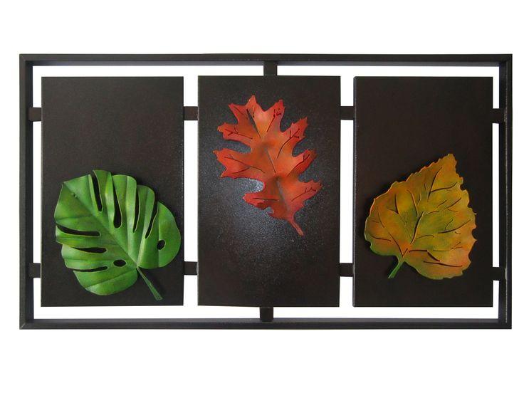 Cuadro Triptico Hojas 3 52 cm H x 88 cm W $ 270.000