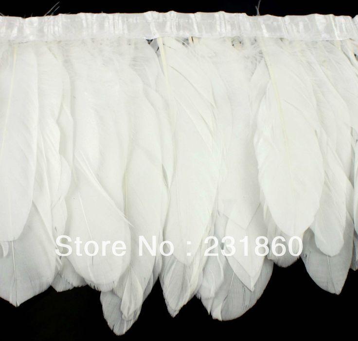 Aliexpress.com: Compre 2 jardas de pluma de ganso Natural guarnição branca Fringe 15 centímetros  U$ 12.93