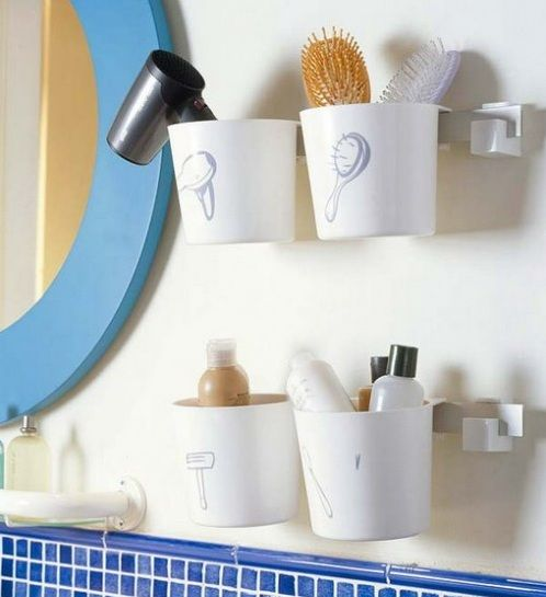 plastic mugs as the storage ideas for small bathroom