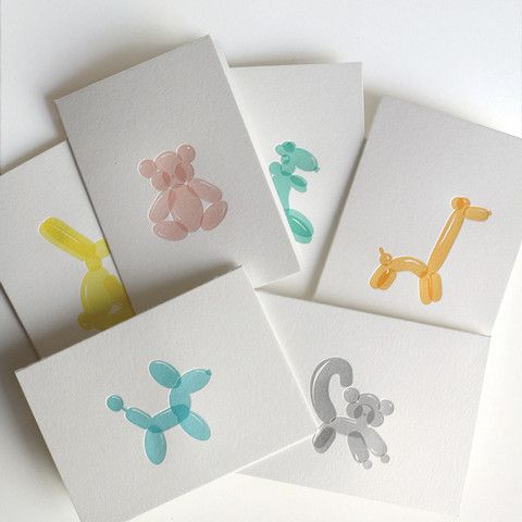 balloon animal letterpress cards at Clementine