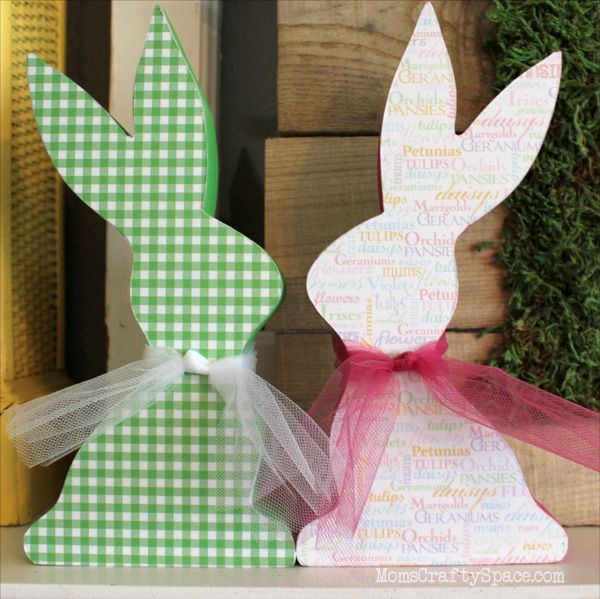 Quick Craft: Mod Podge Easter Bunnies ~ Mom's Crafty Space - using our Chocolate Bunny wood cutouts!