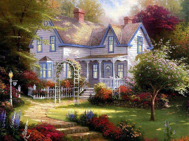 5. Представляю жизнь на природе в доме украшенном цветами.