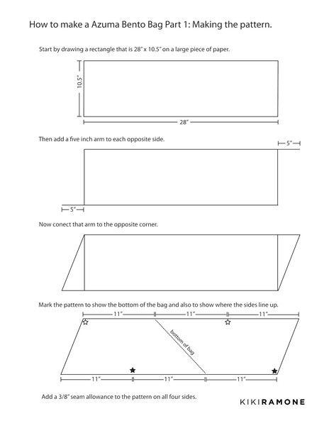 Instructions for making the Azuma Bento bag, Part One.