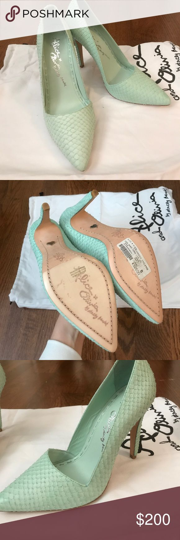 NWT Alice and Olivia Dina aqua heels! Beautiful aqua snake-skin textured Dina heels from Alice and Olivia. Size 38 Eu/size 8 US, never worn (I have wide feet and they never fit comfortably). Heel height 4.25 inches, excellent condition, with dust bag. Make me an offer! 💕 Alice & Olivia Shoes Heels