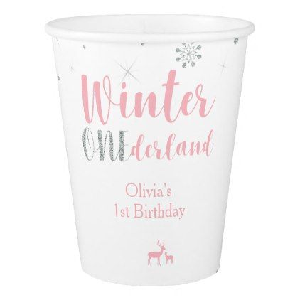 Winter Onederland Girl 1st Birthday Party Decor Paper Cup - winter gifts style special unique gift ideas