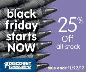 BLACK FRIDAY STARTS NOW SALE! 25% Off All Stock Using Code: SALE25 OR Free Shipping On Orders Over $25 Using Code: 25SHIP At Discount School Supply!