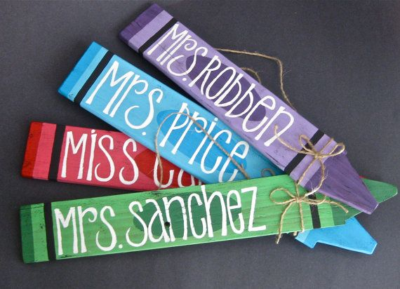 Crayon Name Plate - Customizable Wall Hanging - Teacher sign - Teacher name plaque - Gift - Kids Room