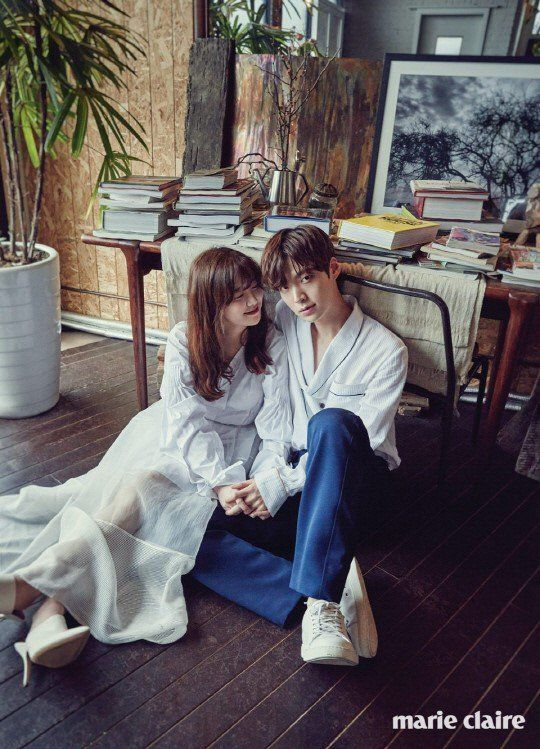 More sweet photos from Gu Hye Sun and Ahn Jae Hyun's Marie Claire photo shoot