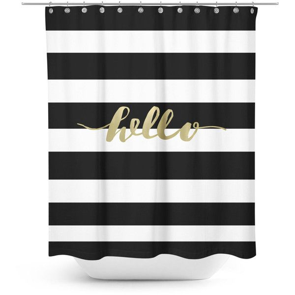 Black and white striped shower curtain with gold typography ($72) ❤ liked on…