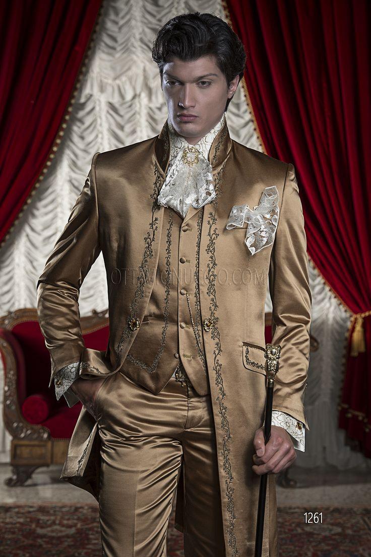 Abito da sposo uomo Barocco in raso oro ricamato oro