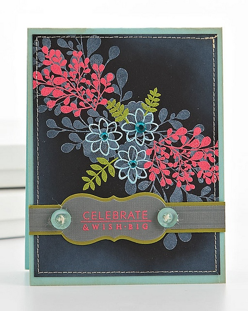 Wish Big Card by @Betsy Veldman from this blogpost:  http://www.papercraftsconnection.com/blog/2012/06/back-in-black/: Cards Ideas, Veldman Colors, Big Cards, Cards 7, Cards Flowing, Greeting Card, Cards Diy, Cards 5 15, Colors Embossing