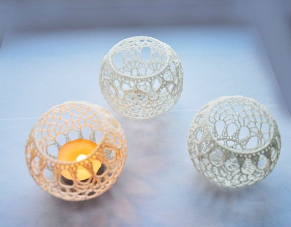 Wedding Table Centerpiece Crochet Candle Holders Set of 5
