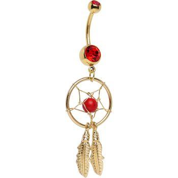 Gold Plated Red Gem Dreamcatcher Belly Ring $10.99 #piercing #bodycandy
