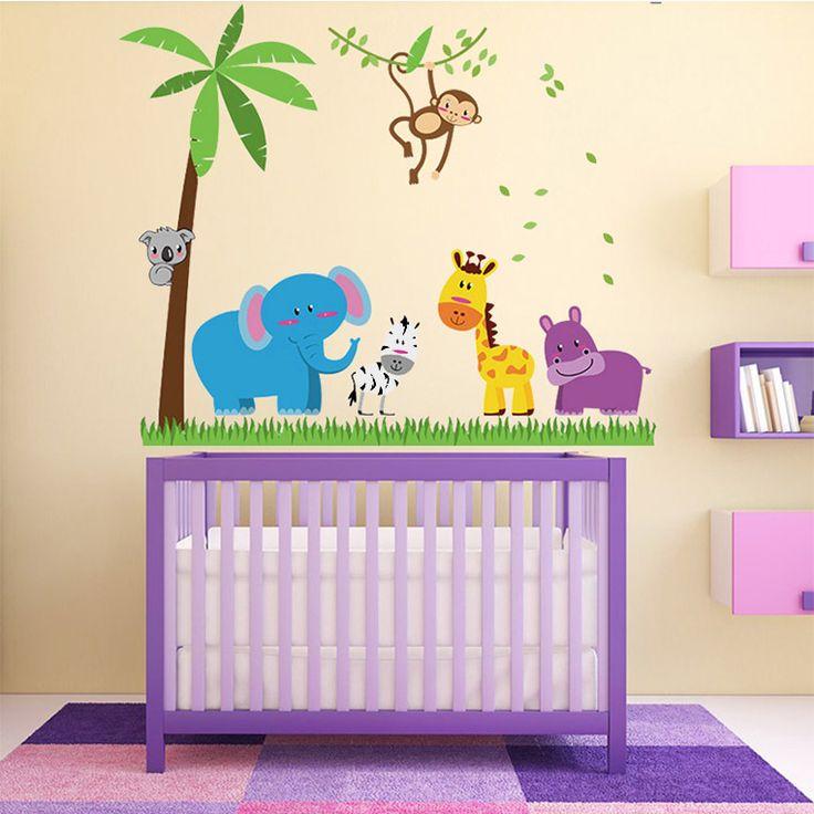 Mosolygós állatok a dzsungelben falmatrica #elefánt #zebra #zsiráf #majom #koala #hippo #viziló #unisex #elephant #jungle #gyerekszobafalmatrica #falmatrica #gyerekszobadekoráció #gyerekszoba #matrica #faldekoráció #dekoráció