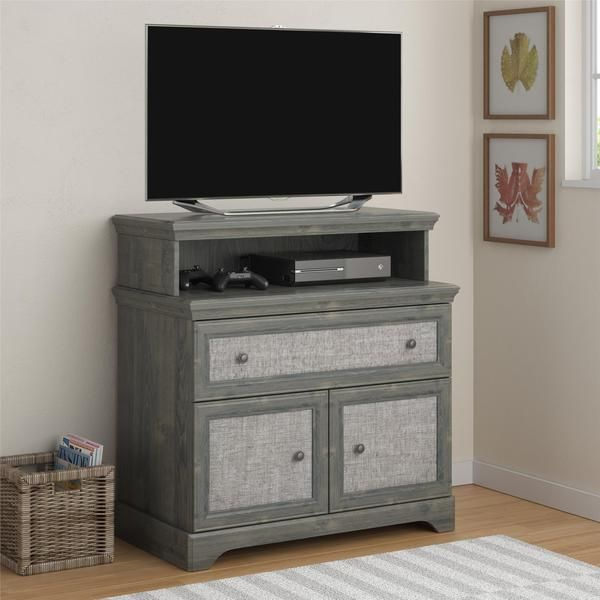 Altra Stone River Rodeo Oak Media Dresser With Fabric Insert