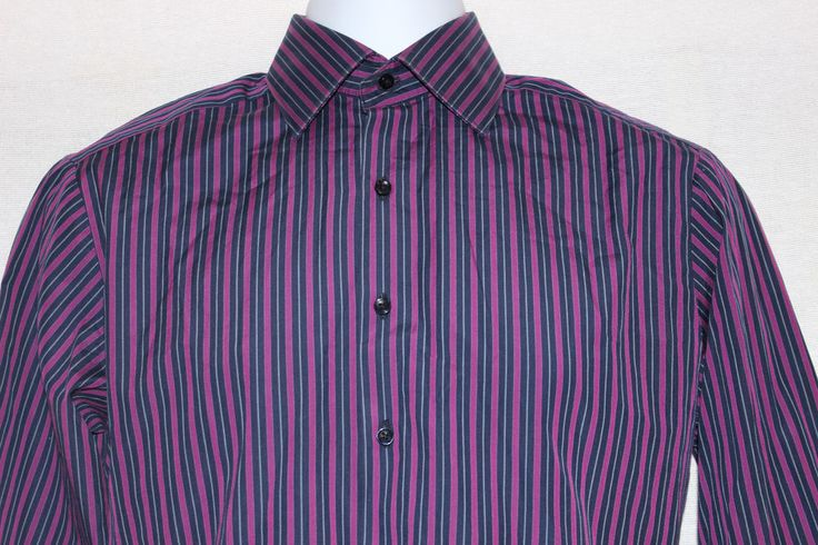 Thomas Pink London Slim Fit Striped Dress Shirt 14.5 37 Blues Purple  #ThomasPink #London #SlimFit #DressShirt #Striped #Purple #Christmas #Gift #Career #Boss #Party