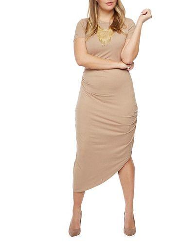 Plus Size Draped T Shirt Dress,TAN