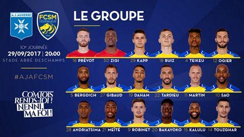 🦁FC Sochaux-Montbéliard🇫🇷  🦁FC SOCHAUX GREEK FANS🇬🇷 AJ Auxerre-FC Sochaux-Montbéliard ⚽️ #GROUPE 🦁 ⚽️🦁 Le FC Sochaux-Montbéliard se déplace ce vendredi 29 septembre à 20 heures au Stade Abbé Deschamps pour y affronter l'AJ Auxerre.  Peter Zeidler a composé un groupe de 18 joueurs pour la 10e journée de Domino's Ligue 2, enregistrant le retour de suspension de Yakou Meïté. Le coach sochalien est à l'inverse privé de Mickaël Alphonse et Jeando Fuchs (qui sont suspendus) alors qu'El…