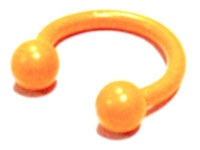 "Horseshoe Ear Eyebrow Lip 16 Gauge 7/16"" 4mm Balls Titanium Orange Body Jewelry"