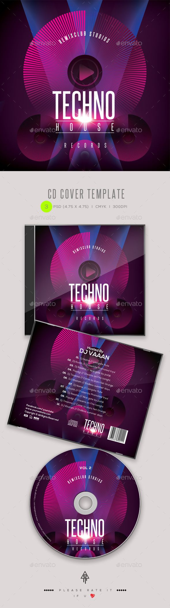 Techno House CD Cover Artwork Template PSD. Download here: https://graphicriver.net/item/techno-house-cd-cover-artwork/17474637?ref=ksioks