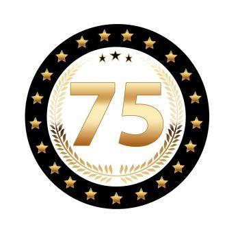 25 stuks Luxe Bierviltjes met 75 jaar opdruk voor een 75ste verjaardag. Zwart met goudkleurige uitvoering en dubbelzijdig bedrukt.
