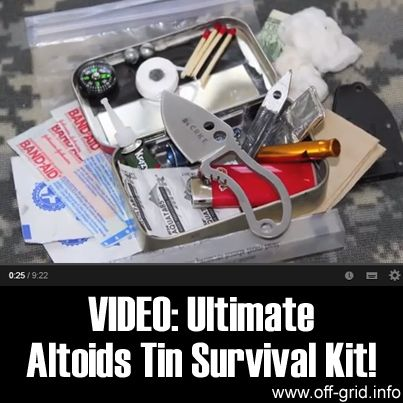 """Please Share This Page: VIDEO: Ultimate Altoids Tin Survival Kit!Photo – http://www.youtube.com/watch?v=nOXRaZGQ_Y4 The """"Altoids Tin survival kit"""" seems to have become an art form in its own right. The """"rules of the game"""" are simple: How comprehensive and useful a survival kit can you pack into an Altoids tin? It's a fun challenge and gets [...]"""