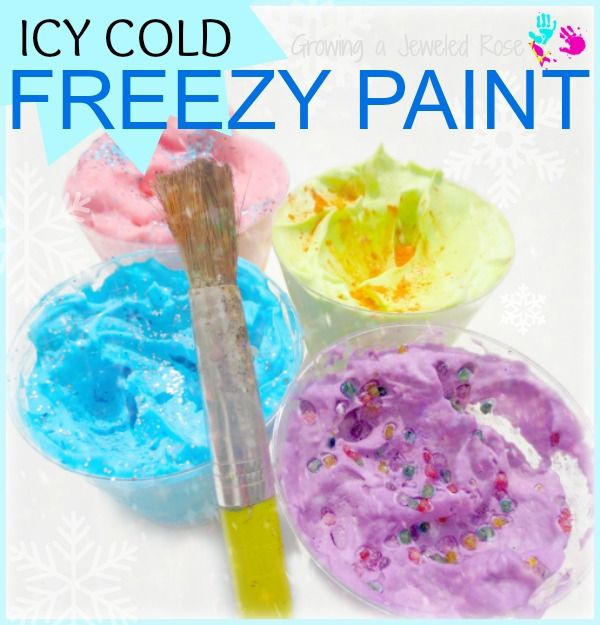 To make Freezy Paints you will need: Shaving Cream Food Coloring Freezer space Optional- Extract, kool-aid, cocoa powder or any other ingredient you would like to use to add scent Optional- shaved ice or ice cubes (for extended play and sensory exploration)